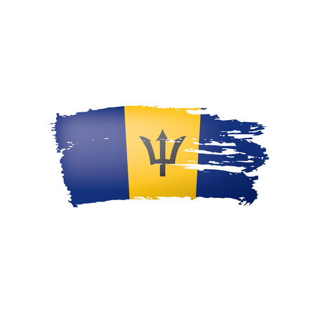 Barbados flag, vector illustration on a white background Vecteurs