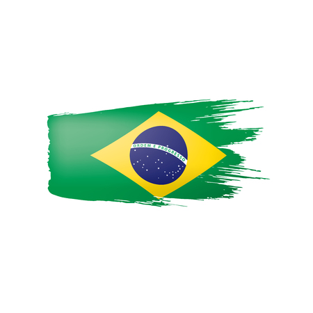 Brazil flag, vector illustration on a white background