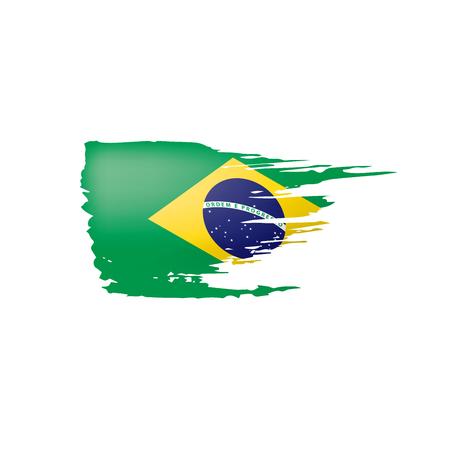 Brazil flag, vector illustration on a white background.