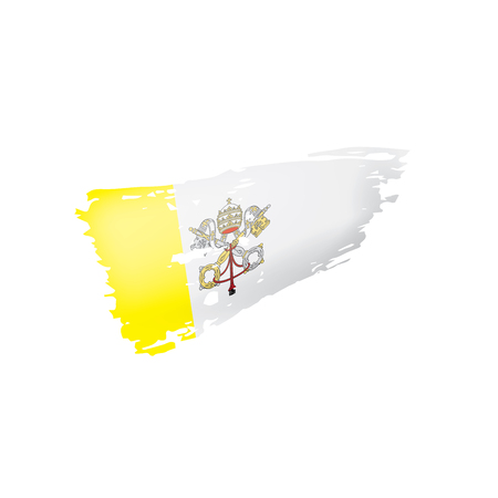 Vatican flag, vector illustration on a white background.