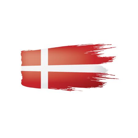 Denmark flag isolated on a white background, vector illustration Vetores