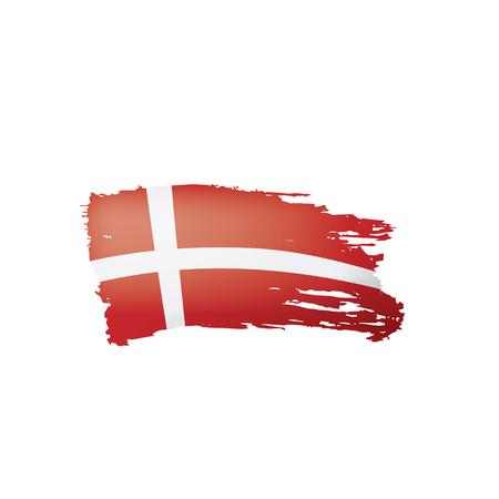 Denmark flag, vector illustration on a white background. Vetores