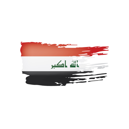 Iraqi flag isolated on a white background, vector illustration Stockfoto - 108019443