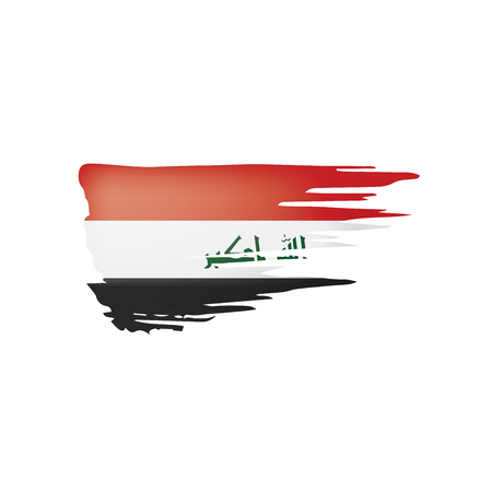 Iraqi flag isolated on a white background, vector illustration