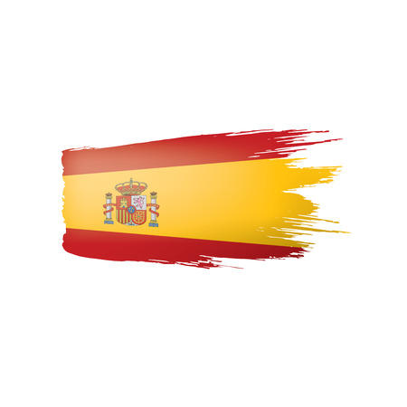 Spain flag isolated on a white background, vector illustration Illustration