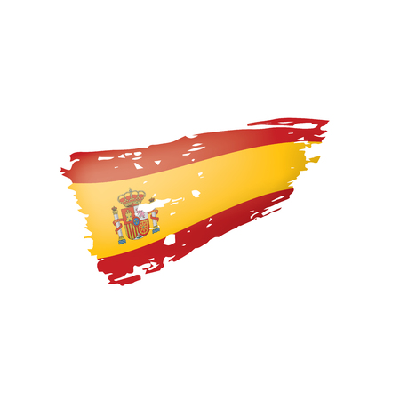 Spain flag isolated on a white background, vector illustration Vettoriali