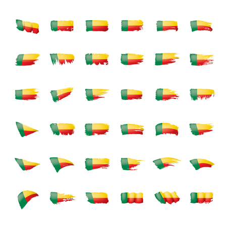Benin flag, vector illustration on a white background.