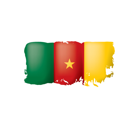 Cameroon flag, vector illustration on a white background Vettoriali
