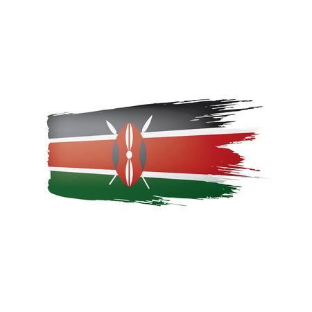 Bandiera del Kenya, illustrazione vettoriale su sfondo bianco