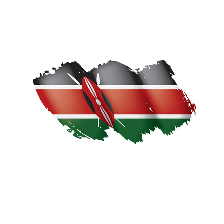 Bandiera del Kenya, illustrazione vettoriale su sfondo bianco Vettoriali