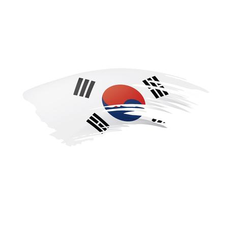 Drapeau sud-coréen, illustration vectorielle sur fond blanc