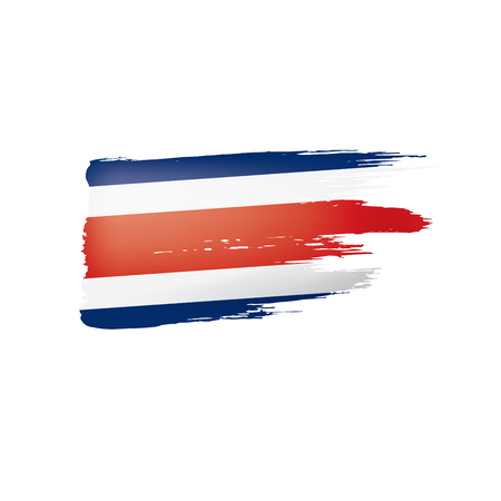 Costa Rica flag, vector illustration on a white background Çizim