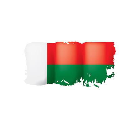 Madagascar flag, vector illustration on a white background Ilustração Vetorial