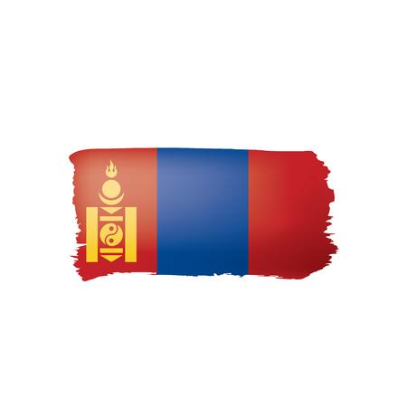 Mongolia flag, vector illustration on a white background