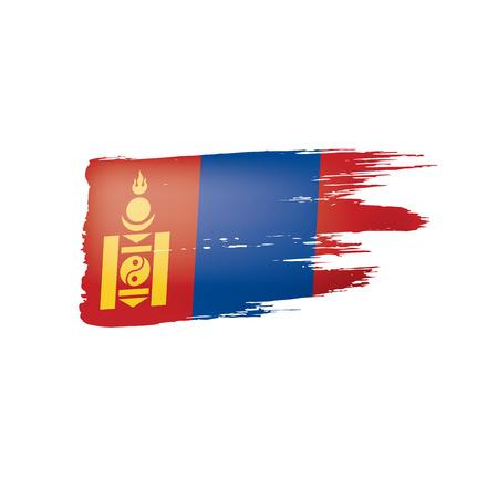 Mongolia flag, vector illustration on a white background Çizim