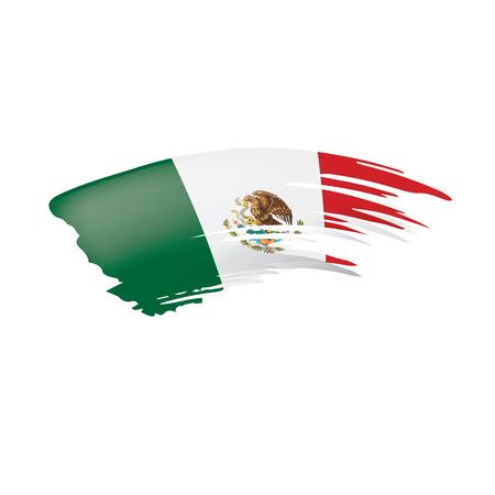 Bandera mexicana, ilustración vectorial sobre fondo blanco.