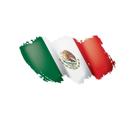 Drapeau mexicain, illustration vectorielle sur fond blanc.