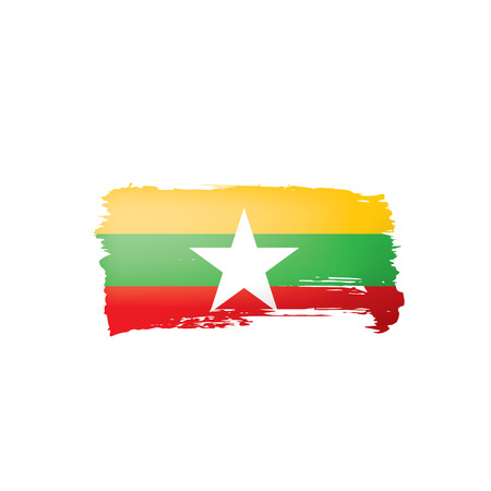 Myanmar flag, vector illustration on a white background.