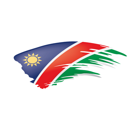Namibia flag, vector illustration on a white background Иллюстрация