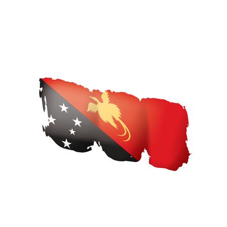 Drapeau de la Papouasie-Nouvelle-Guinée, illustration vectorielle sur fond blanc