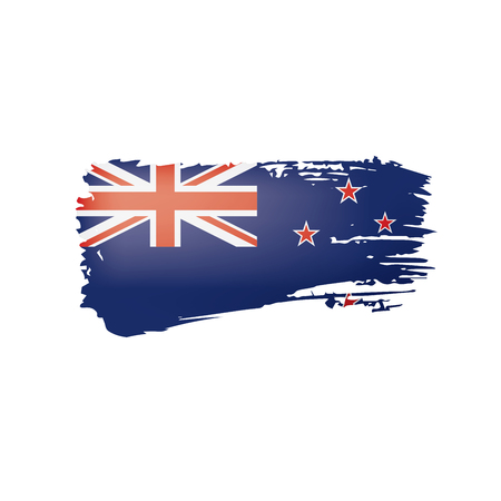 New Zealand flag, vector illustration on a white background