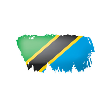 Tansania-Flagge, Vektorillustration auf einem weißen Hintergrund