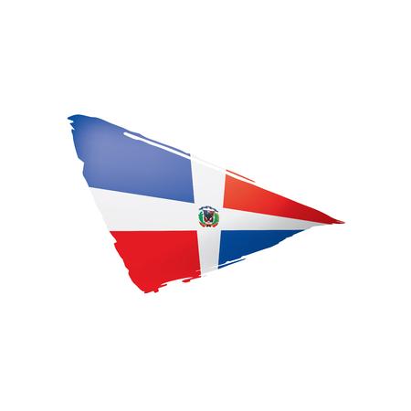 Bandera dominicana, ilustración vectorial sobre un fondo blanco. Ilustración de vector