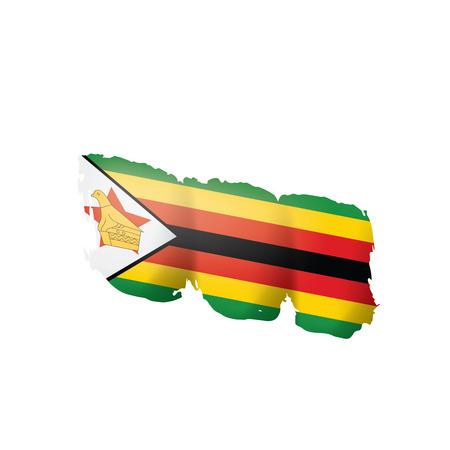 Bandiera dello Zimbabwe, illustrazione vettoriale su sfondo bianco Vettoriali