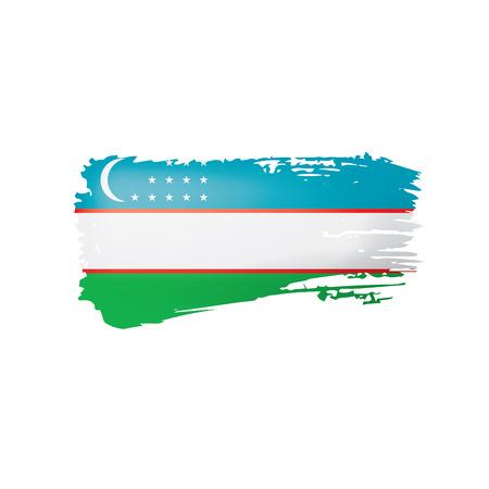Uzbekistan flag, vector illustration on a white background Stock Illustratie