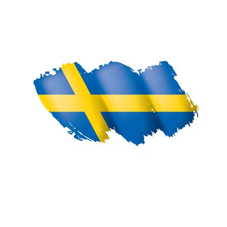 Sweden flag, vector illustration on a white background