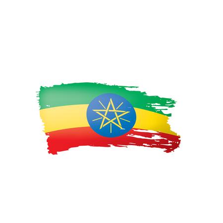 Ethiopia flag, vector illustration on a white background. Vettoriali