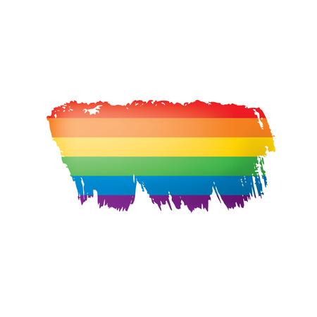Grunge rainbow flag isolated on white background.