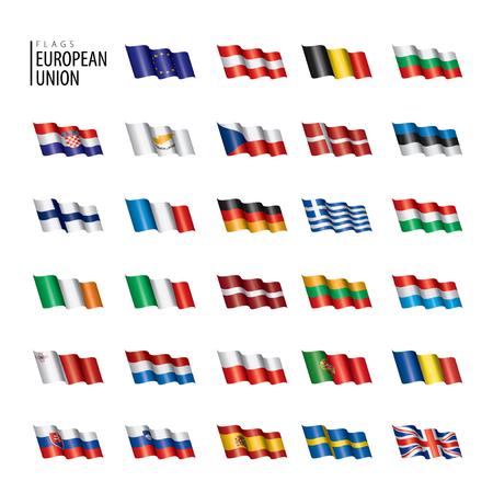 banderas de la unión europea. Ilustración vectorial