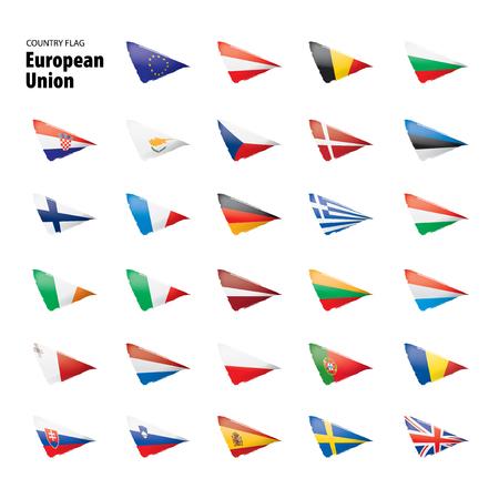 Vlaggen van de europese unie. Vector illustratie Stockfoto - 109723114