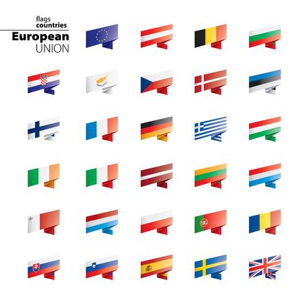 Vlaggen van de europese unie. Vector illustratie Stockfoto - 109723119