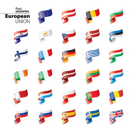 flags of the european union. Vector illustration