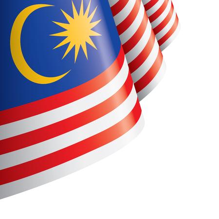 Bandiera della Malesia, illustrazione vettoriale su sfondo bianco Vettoriali