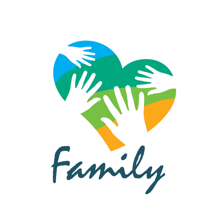 Family icon in the form of hands. Vector illustration