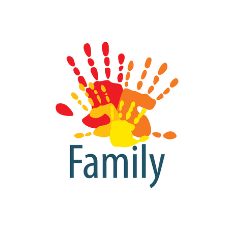Family icon in the form of hands. Vector illustration.