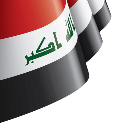 Iraqi flag, vector illustration on a white background Stock Illustratie