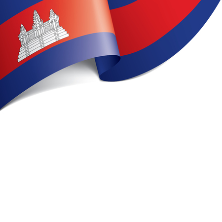 Cambodia flag, vector illustration on a white background