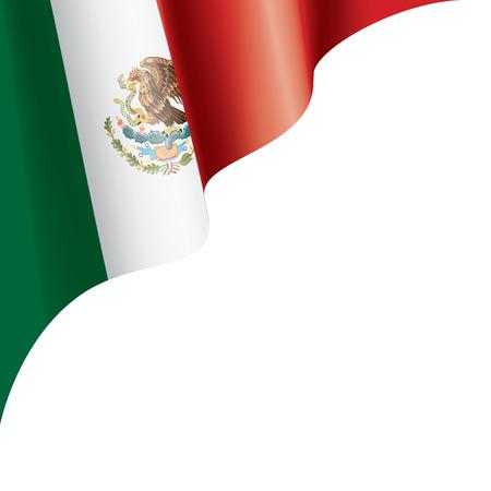 Drapeau national mexicain, illustration vectorielle sur fond blanc