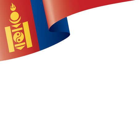Mongolia flag, vector illustration on a white background 矢量图像