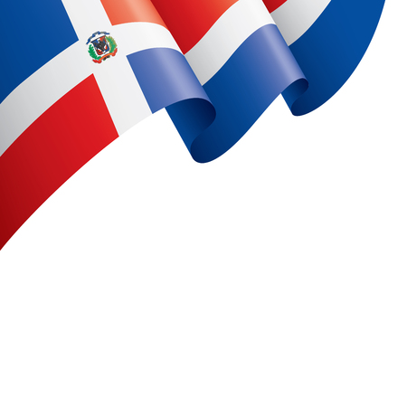 Dominicana nationale vlag, vectorillustratie op een witte achtergrond Vector Illustratie