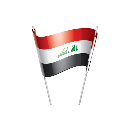 Iraqi flag, vector illustration on a white background Ilustração