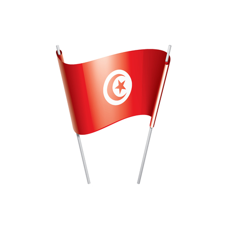 Tunisia national flag, vector illustration on a white background Ilustração