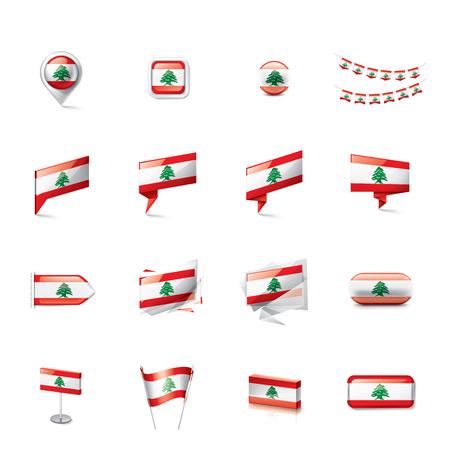 Lebanese national flag, vector illustration on a white background