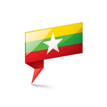 Myanmar national flag, vector illustration on a white background Vektorgrafik