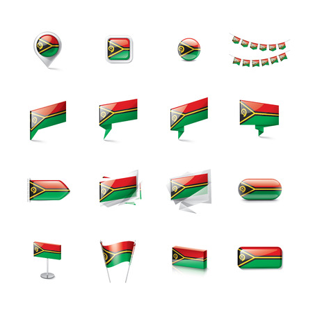 Vanuatu national flag, vector illustration on a white background Illusztráció