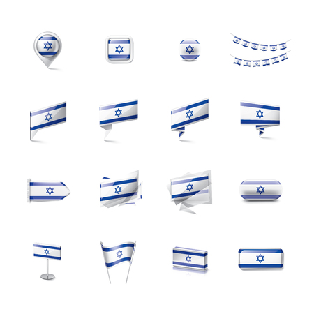 Israel national flag, vector illustration on a white background Illustration